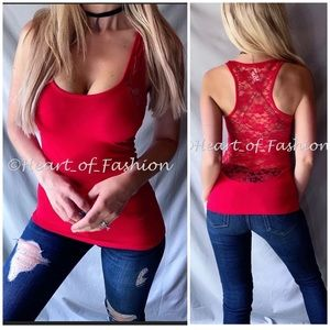 Red Scoop Neck Sheer Lace Back Racerback Tank